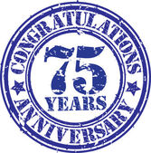 Congratulations 75 years anniversary grunge rubber stamp, vector — Stockvektor