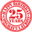 Happy birthday 25 years grunge rubber stamp, vector illustration — Vecteur