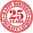 Happy birthday 25 years grunge rubber stamp, vector illustration — Stock vektor