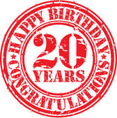 Happy birthday 20 years grunge rubber stamp, vector illustration — Stock Vector