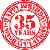 Happy birthday 35 years grunge rubber stamp, vector illustration — Stock Vector