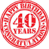 Happy birthday 40 years grunge rubber stamp, vector illustration — Stock Vector