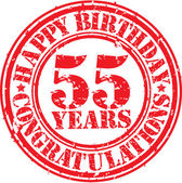 Happy birthday 55 years grunge rubber stamp, vector illustration — Stock Vector