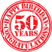 Happy birthday 50 years grunge rubber stamp, vector illustration — Stock Vector