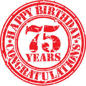 Happy birthday 75 years grunge rubber stamp, vector illustration — Stock Vector