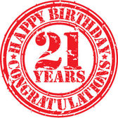 Happy birthday  21 years grunge rubber stamp, vector illustratio — Stock Vector