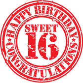 Happy birthday sweet 16 grunge rubber stamp, vector illustration — Stock Vector