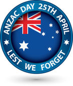 Anzac Day Lest We Forget blue label, vector illustration — Stock Vector