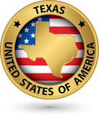 Texas state gold label with state map, vector illustration — Stockvector