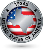 Texas state silver label with state map, vector illustration — Stockvector