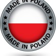 Made in Poland silver label with flag, vector illustration — Stock Vector