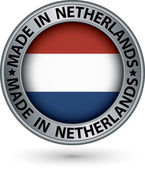 Made in Netherlands silver label with flag, vector illustration — Stock vektor