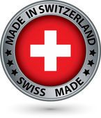 Made in Switzerland silver label with flag, vector illustration — Stock Vector