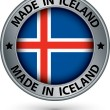 Made in Iceland silver label with flag, vector illustration — Stock Vector