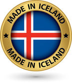 Made in Iceland gold label with flag, vector illustration — Stock Vector