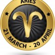 Постер, плакат: Aries zodiac gold sign aries symbol vector illustration
