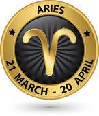 Aries zodiac gold sign, aries symbol vector illustration — Vetor de Stock