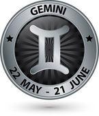 Signo del zodiaco plata de gemini, gemini símbolo vector illustration — Vector de stock