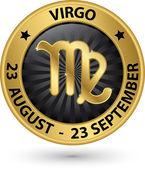 Virgo zodiac gold sign, virgo symbol vector illustration — Stock Vector