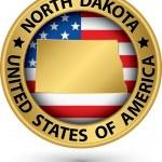 North Dakota state gold label with state map, vector illustratio — ストックベクタ