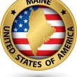 Maine state gold label with state map, vector illustration — Stock Vector #47106177