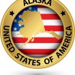 Alaska state gold label with state map, vector illustration — Stock Vector #47106293