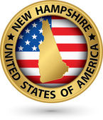 New Hampshire state gold label with state map, vector illustrati — Stock Vector