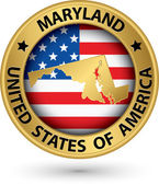 Maryland state gold label with state map, vector illustration — Stock Vector