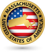 Massachusetts state gold label with state map, vector illustratio — Stock Vector