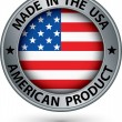 Made in the USA american product silver label with flag, vector  — Stock Vector #51572247