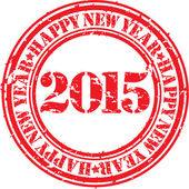 Happy new 2015 year grunge rubber stamp, vector illustration  — Vector de stock