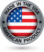 Made in the USA american product silver label with flag, vector — Stock Vector
