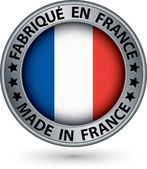 Made in France silver label with flag, vector illustration — 图库矢量图片