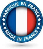 Made in France blue label with flag, vector illustration — 图库矢量图片