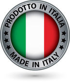 Made in Italy silver label with flag, vector illustration — 图库矢量图片