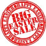 Grunge happy easter big sale rubber stamp, vector illustration — Stock Vector #9690449
