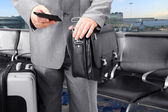 Traveling Businessman Calling by Phone at the Airport — Stock Photo