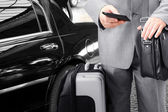 Traveling Businessman Calling by Phone — Stock Photo