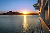 Sunset and Cruise Ship — Stock Photo