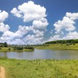 Landscape with lake, forest and blue sky — Stock Photo #6207456