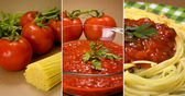 Pasta and tomatoes collage — Stock Photo