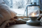 Lantern on windowsill — Stock Photo