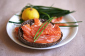 Sandwich with salmon — Stock Photo