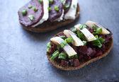 Open danish sandwich — Стоковое фото
