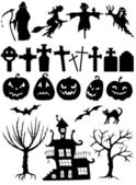Set of Halloween silhouettes — Stock Vector
