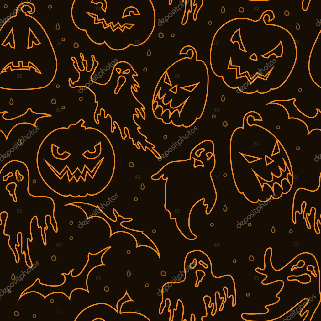 Halloween seamless pattern with ghosts,pumpkins and bats  — Stock Vector #13600205