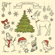Set of Christmas doodle elements — Stock Vector #13628952