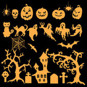 Set of Halloween silhouettes — Stock Vector