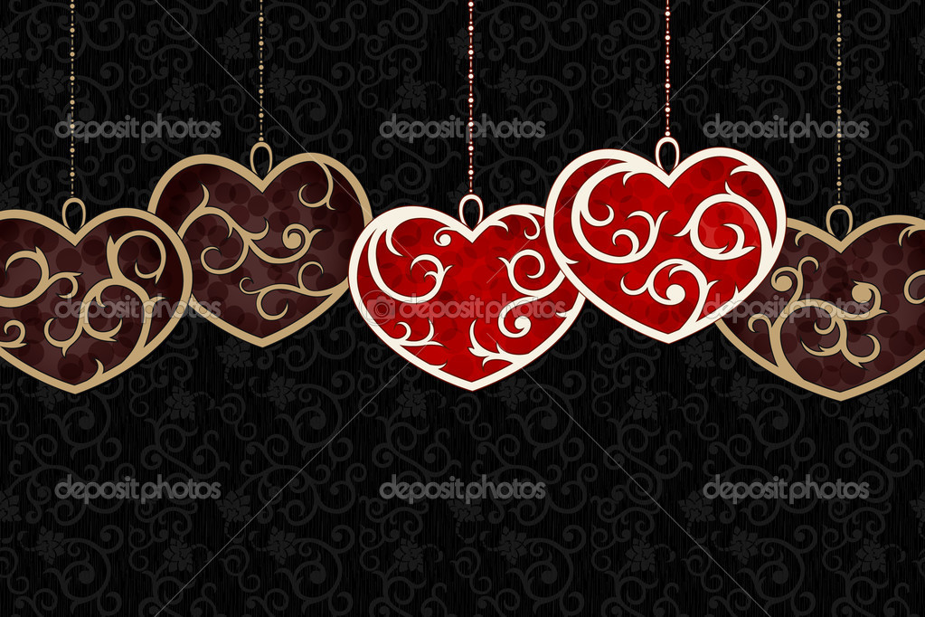 Stylish valentine background  with red and brownn hearts — Stock Vector #13628766