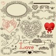 Set of valentine design elements — Stock Vector